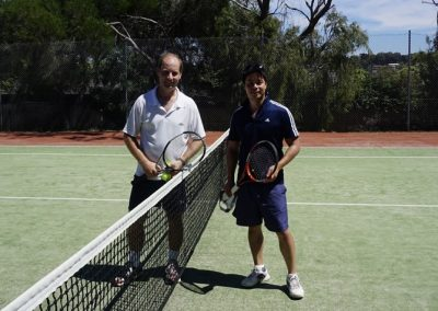 tennis players on court